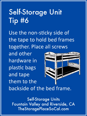 Self-Storage Tip 6: Use the non-sticky side of the tape to hold bed frames together.