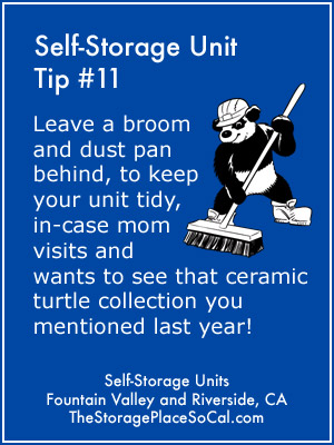 Self-Storage Tip 11: Leave a broom and dust pan behind to keep your unit tidy.