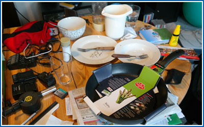 Clutter on Kitchen Table